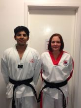 Amanjit Kudhail & Carolyn Smith, promoted to 1st Degree Black Belt, October 2014